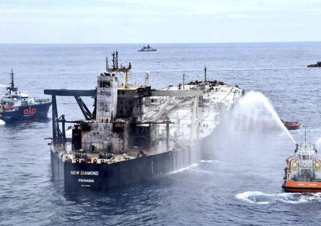 斯里兰卡海岸附近油轮火灾已经被彻底扑灭