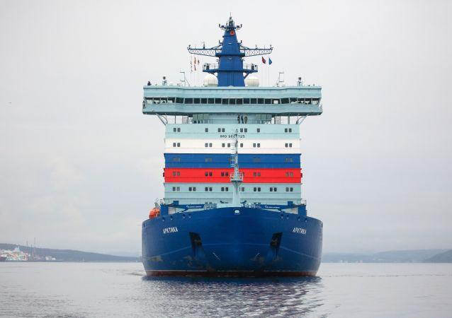 """俄核动力破冰船""""北极""""号首次沿北方海路航行"""