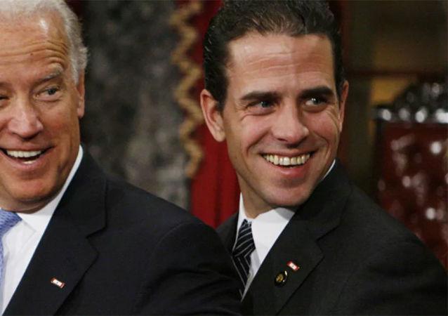 民主党总统候选人乔•拜登和亨特•拜登