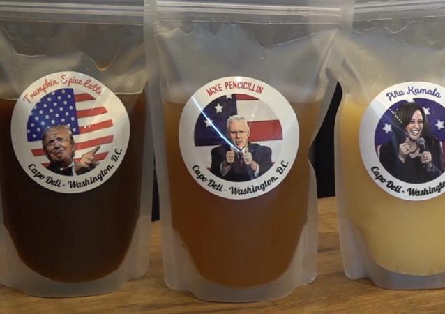 大选前夕华盛顿一家咖啡店推出别样鸡尾酒