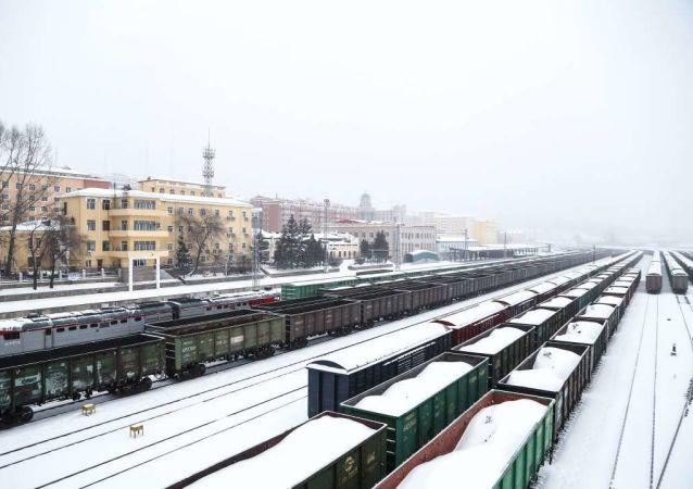 绥芬河铁路口岸24小时值守除雪确保国境线畅通 接入俄铁入境货物列车12列455辆
