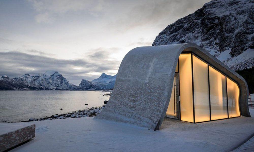 """挪威观景台上的波浪形公厕""""Ureddplassen"""""""