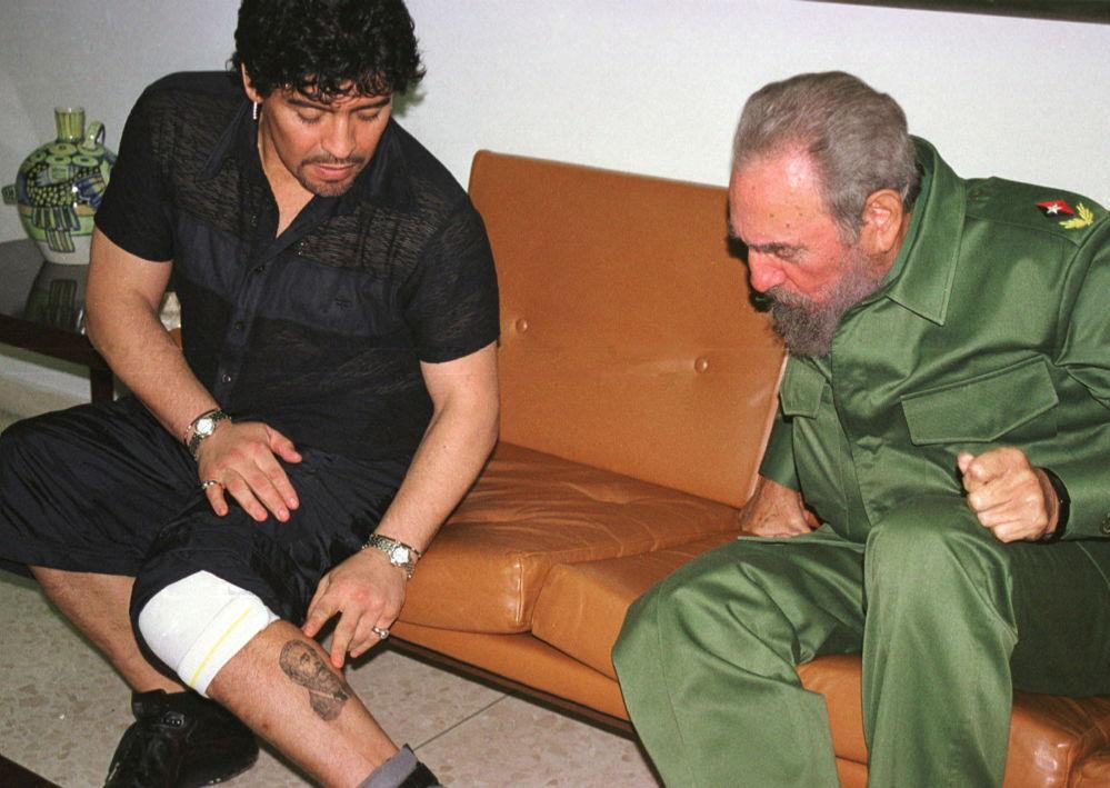 马拉多纳与古巴前总统菲德尔·卡斯特罗在古巴会面