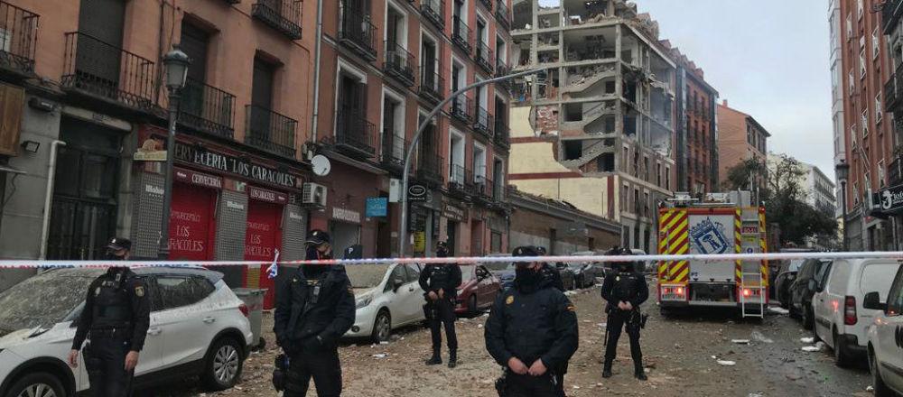 警方在马德里爆炸现场
