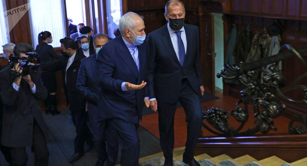 俄罗斯外长拉夫罗夫与伊朗外长扎里夫