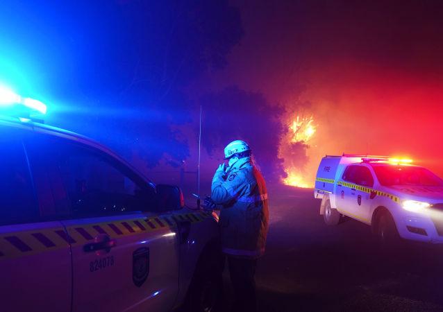澳大利亚珀斯市不远处的消防员。