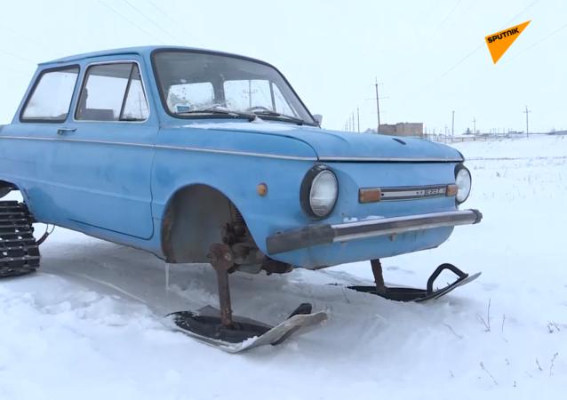 苏联汽车改装的雪地车