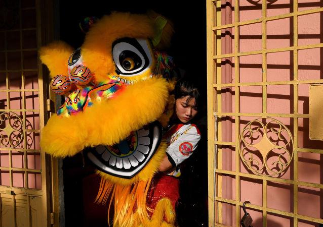 越南Tu Anh Duong学校舞狮表演中使用的狮头