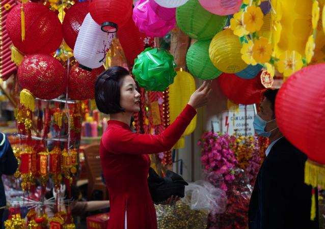 河内市民采买农历新年的节日装饰品。