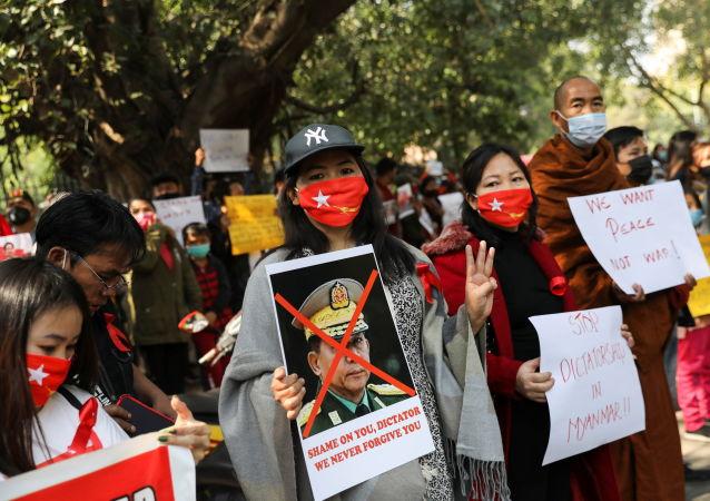 缅甸抗议者