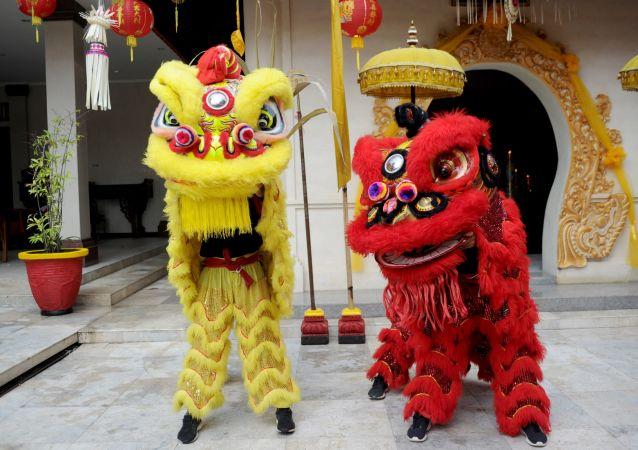 大年初一巴厘岛库塔华人庙宇中身着狮子服装的人。