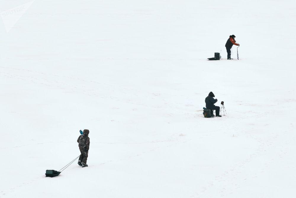 圣彼得堡市涅瓦河上的冰钓爱好者。