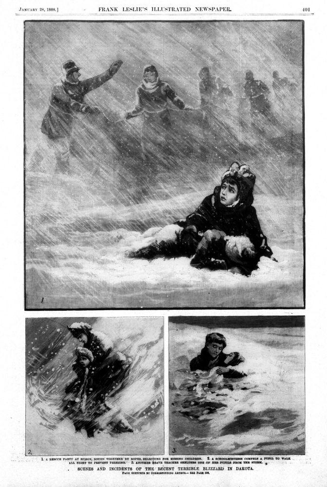 1888年达科他州最强暴风雪,夺去了235人的生命。