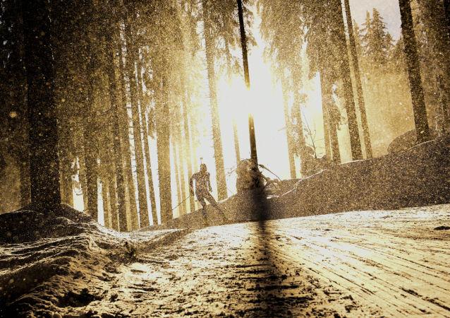 斯洛文尼亚波克留卡,冬季两项世锦赛的短距离比赛现场。