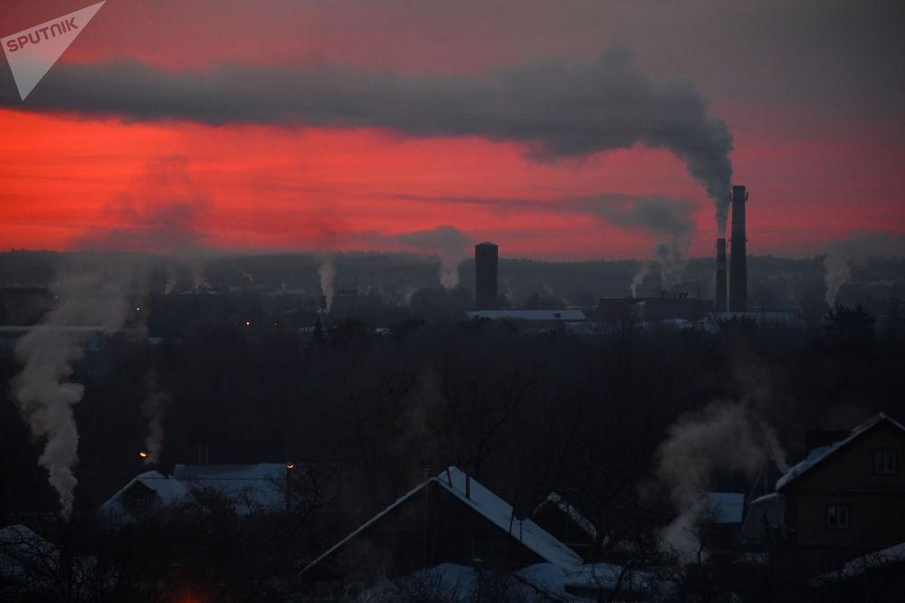 俄罗斯中部地区的霜冻。
