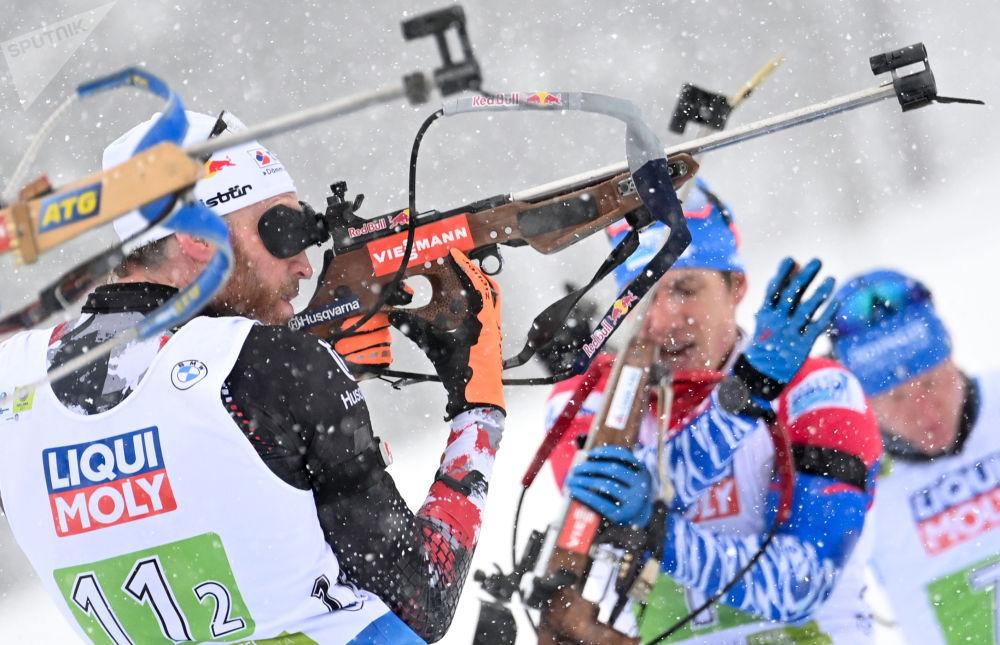 斯洛文尼亚波克留卡,冬季两项世锦赛的混合接力赛现场。