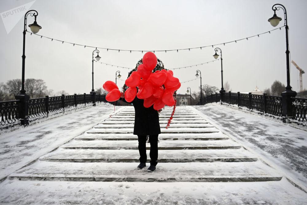莫斯科举行情人节庆祝活动。