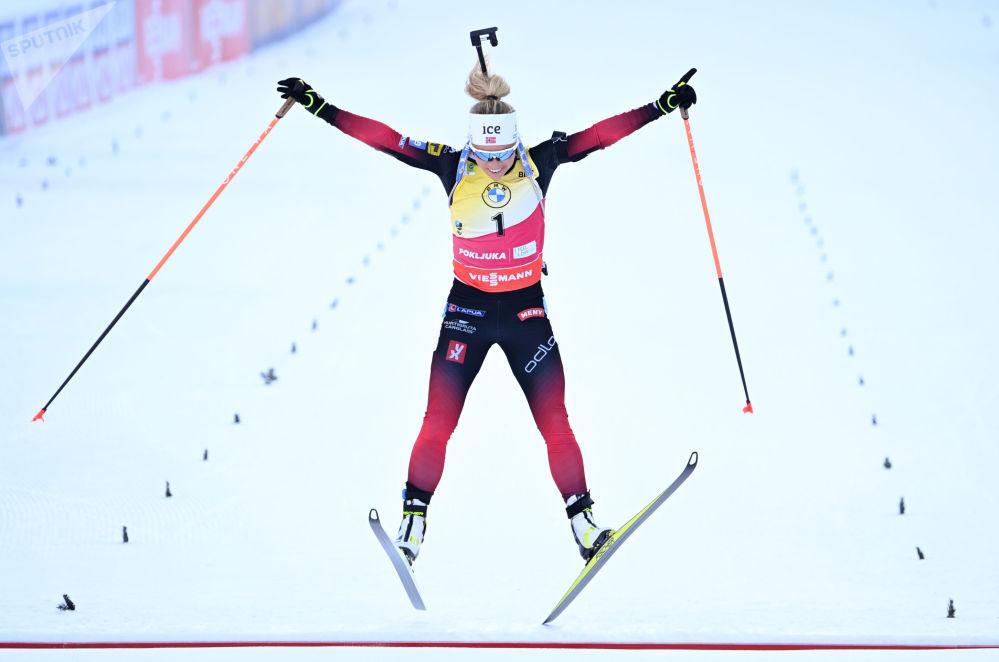 斯洛文尼亚波克留卡,蒂里尔·埃克霍夫参加冬季两项世锦赛追逐赛。