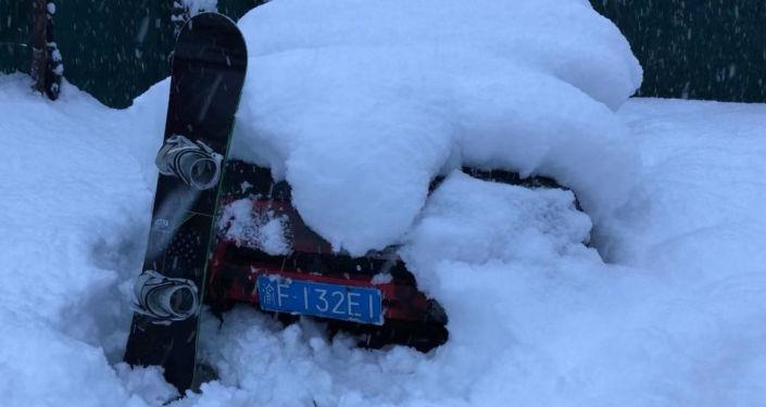 索契的冬天。雪好大,不得不雪中挖车
