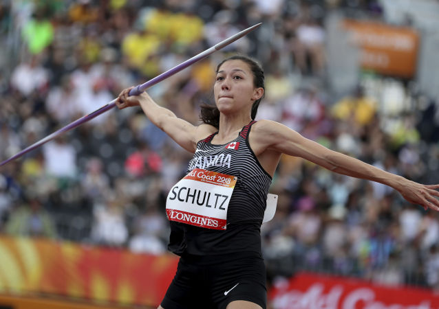 Canada's Nina Schultz competes in the heptathlon javelin at Carrara Stadium during the Commonwealth Games on the Gold Coast