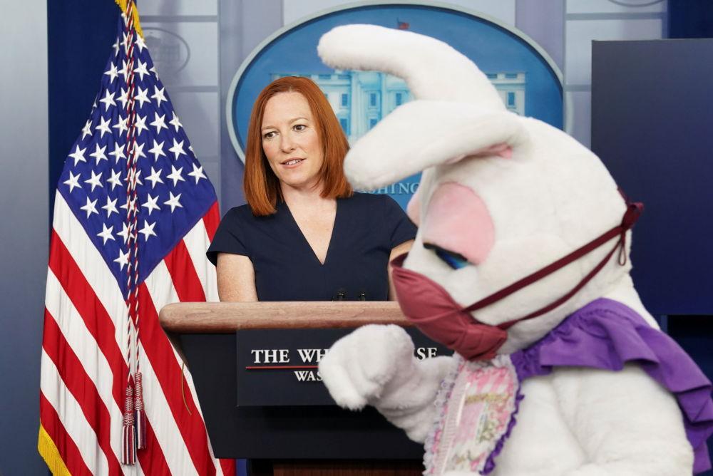 复活节兔子出现在白宫新闻秘书普萨基主持召开的简报会上。