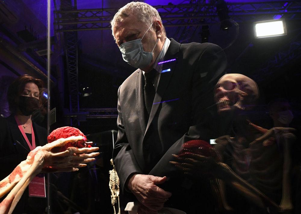 日里诺夫斯基参观在全俄展览中心举行的《人体世界》展