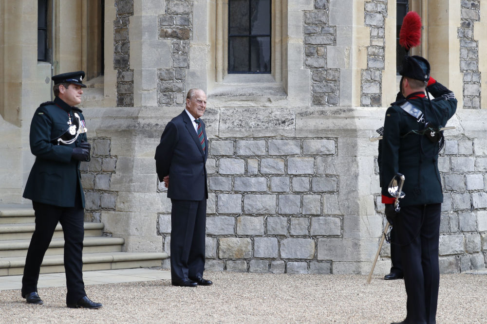 2020年,菲利普亲王在温莎公爵堡留影。
