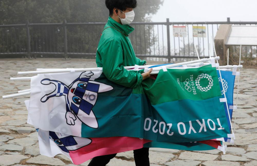 东京举行奥运会倒计时100天纪念活动。