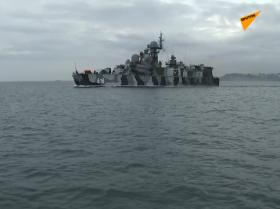 黑海舰队的一支舰艇支队出海开展实战演练