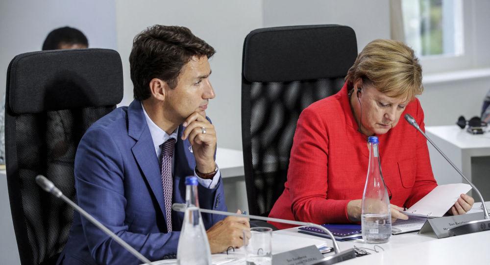 加拿大总理贾斯汀·特鲁多和德国总理安格拉·默克尔