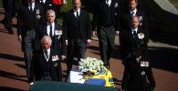 已故菲利普亲王葬礼上的王室成员。