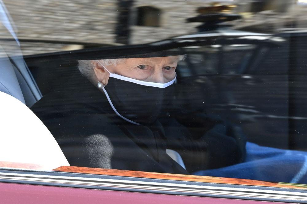 英国女王伊丽莎白二世在丈夫已故菲利普亲王的葬礼上。