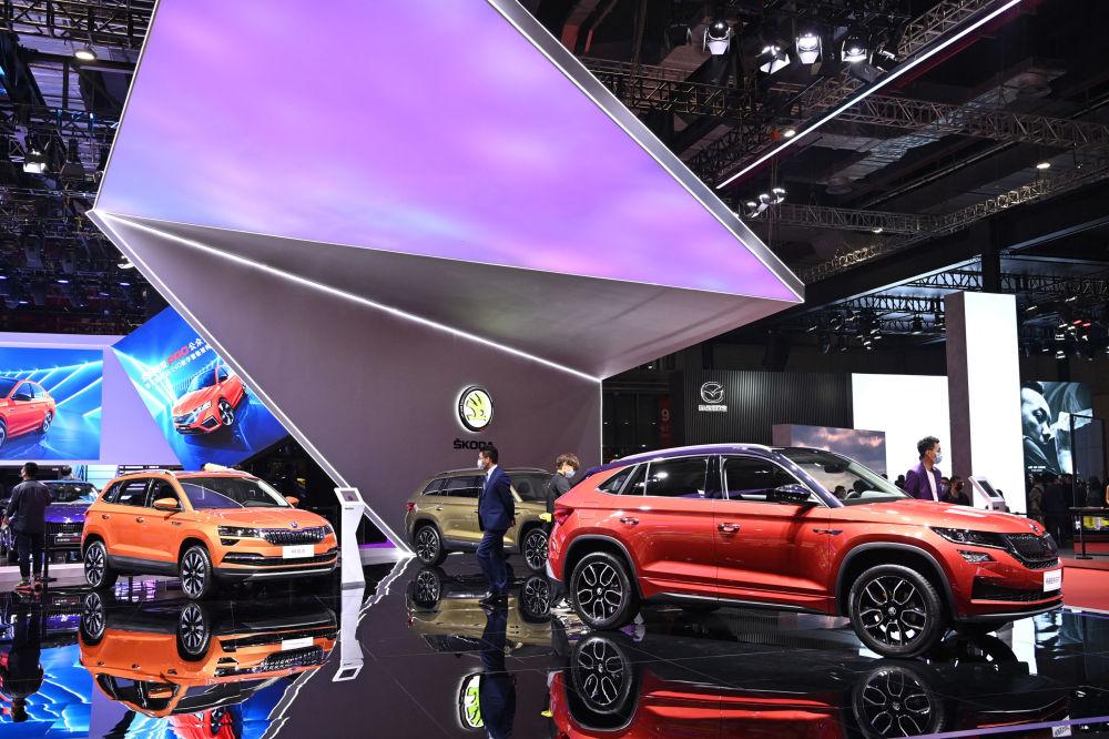 上海国际车展上的斯柯达汽车。