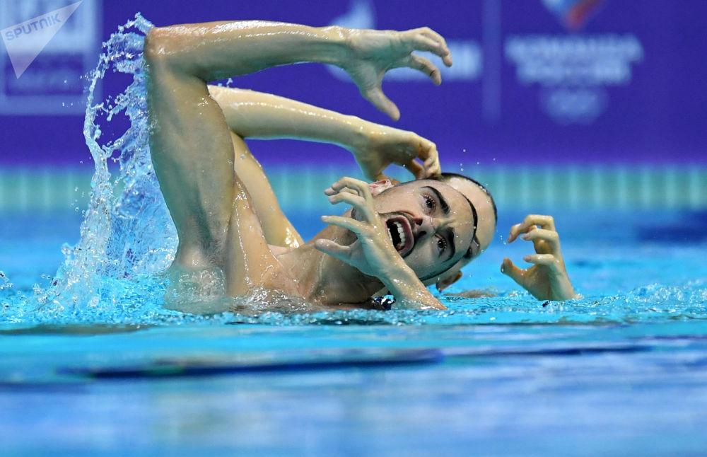 国际泳联花样游泳世界系列赛第三阶段,混双技术自选比赛现场。