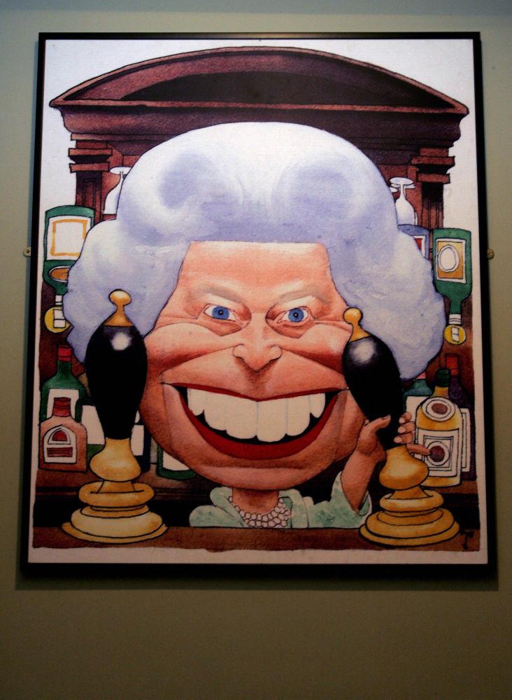 英国伦敦动画画廊里的英女王伊丽莎白二世的卡通画像。