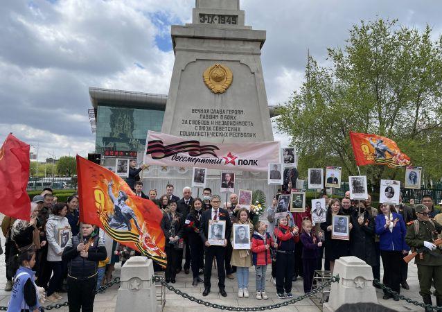 俄中两国约百人在哈尔滨参加隆重的胜利日纪念活动
