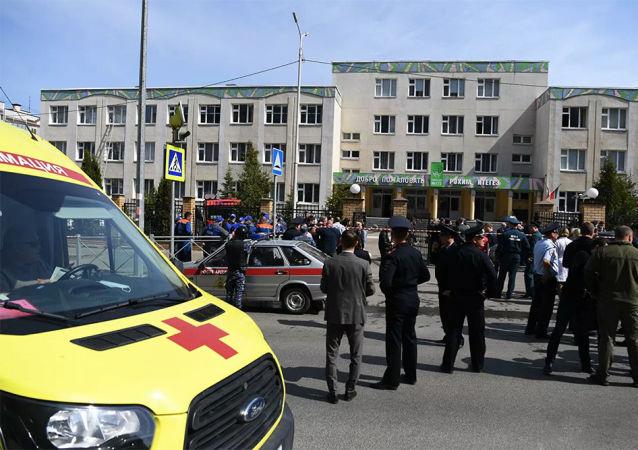俄紧急情况部门表示,发生不明人员开枪事件的喀山一学校发生爆炸