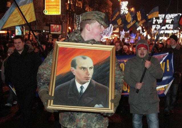 纪念乌克兰纳粹主义者斯捷潘•班杰拉诞辰106周年的纪念活动。