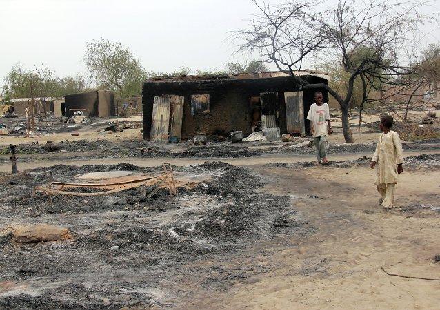 被烧毁的尼日利亚村庄/资料图片/