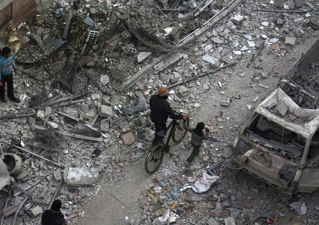 在大马士革市郊的导弹袭击中