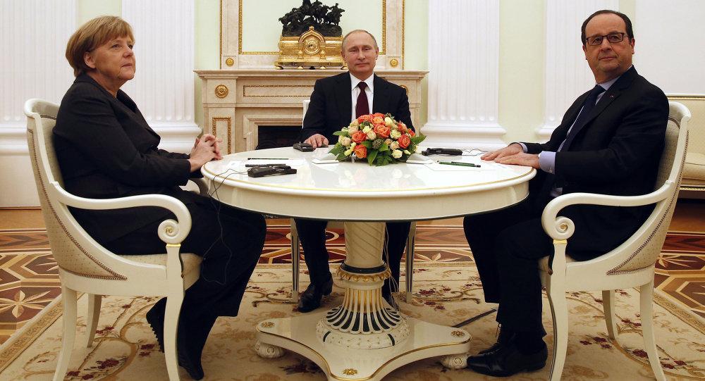 普京、默克尔及奥朗德