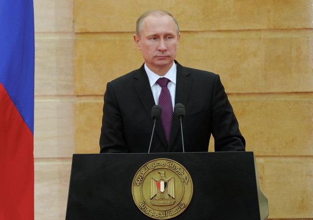 俄罗斯总统弗拉基米尔•普京在与埃及总统阿卜杜勒•法塔赫•塞西会谈后称