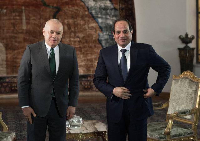 """有关俄、埃重启伙伴关系的前景问题,埃及总统阿卜杜勒•法塔赫•塞西接受了""""今日俄罗斯""""国际新闻通讯社总经理德米特里•基谢廖夫的采访。"""