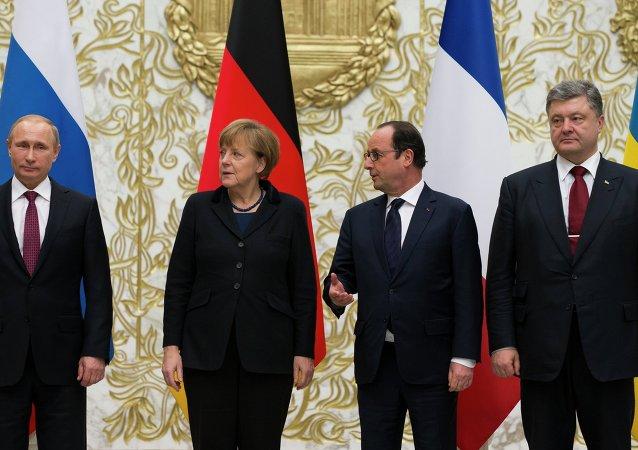 """普京在明斯克与""""诺曼底模式""""四国领导人分别进行谈话"""