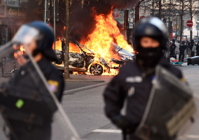 法兰克福欧洲的示威活动