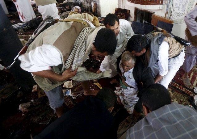 """""""伊斯兰国""""武装分子宣称对也门清真寺爆炸负责 爆炸已致150人死亡,至少345人受伤"""