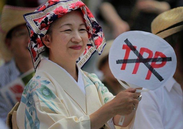 东京举行反对日本参加TPP抗议行为 (资料图片)