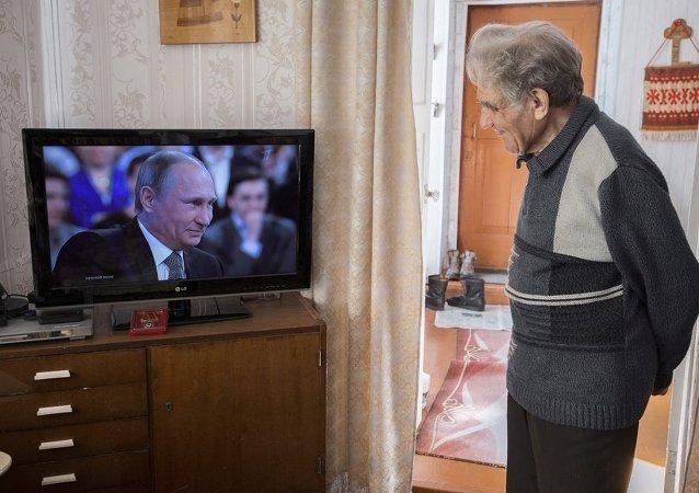 """俄联邦总统弗拉基米尔∙普京""""直播连线""""节目在线直播"""