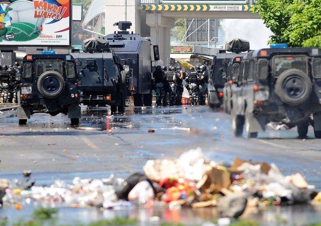 马其顿警察人员/资料图片/