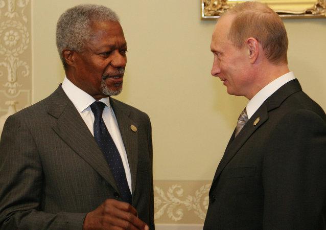 """普京将与安南率领的""""国际元老集团""""代表团举行会晤"""